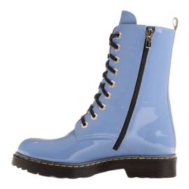 Marco Shoes Wysokie trzewiki, glany wiązane na półprzeźroczystej podeszwie niebieskie 3