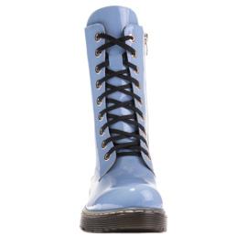 Marco Shoes Wysokie trzewiki, glany wiązane na półprzeźroczystej podeszwie niebieskie 2