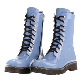 Marco Shoes Wysokie trzewiki, glany wiązane na półprzeźroczystej podeszwie niebieskie 4