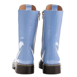Marco Shoes Wysokie trzewiki, glany wiązane na półprzeźroczystej podeszwie niebieskie 5