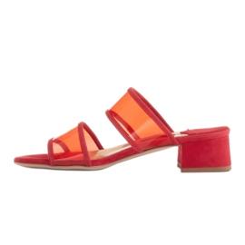 Marco Shoes Klapki damskie z półprzeźroczystymi paskami czerwone 4