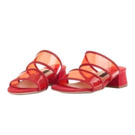 Marco Shoes Klapki damskie z półprzeźroczystymi paskami czerwone 3