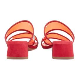 Marco Shoes Klapki damskie z półprzeźroczystymi paskami czerwone 5