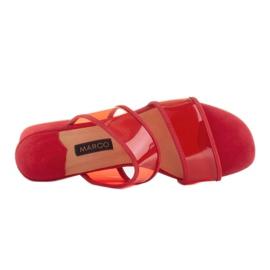 Marco Shoes Klapki damskie z półprzeźroczystymi paskami czerwone 7