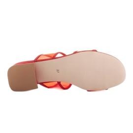 Marco Shoes Klapki damskie z półprzeźroczystymi paskami czerwone 6