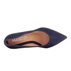 Marco Shoes Czółenka z naturalnego zamszu ze srebrnym dodatkiem w obcasie granatowe 3