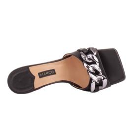Marco Shoes Klapki damskie ze skóry z łańcuchem ozdobnym czarne 5
