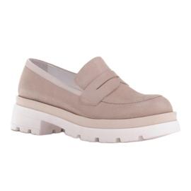 Marco Shoes Półbuty z zamszu ze wzorkiem na grubej podeszwie beżowy 1