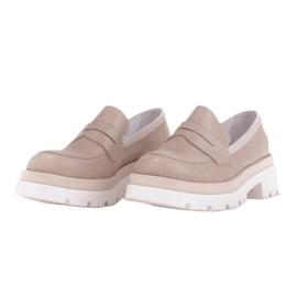 Marco Shoes Półbuty z zamszu ze wzorkiem na grubej podeszwie beżowy 2