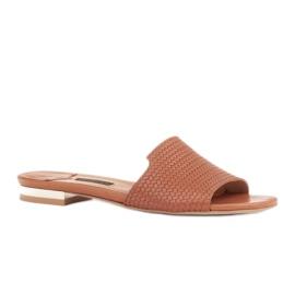 Marco Shoes Eleganckie klapki damskie z brązowej skóry 1