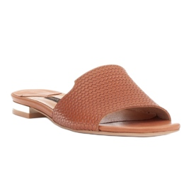 Marco Shoes Eleganckie klapki damskie z brązowej skóry 2