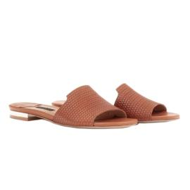 Marco Shoes Eleganckie klapki damskie z brązowej skóry 5