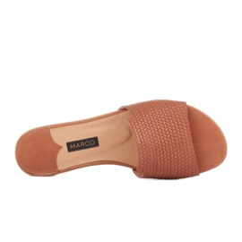 Marco Shoes Eleganckie klapki damskie z brązowej skóry 6