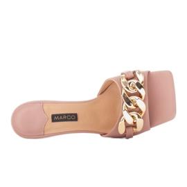 Marco Shoes Klapki damskie ze skóry z łańcuchem ozdobnym różowe 5