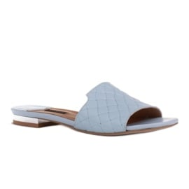 Marco Shoes Eleganckie klapki damskie z tłoczonej skóry niebieskie 1