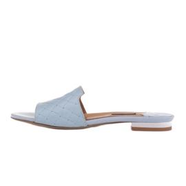 Marco Shoes Eleganckie klapki damskie z tłoczonej skóry niebieskie 2