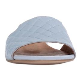 Marco Shoes Eleganckie klapki damskie z tłoczonej skóry niebieskie 3