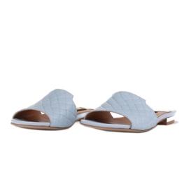 Marco Shoes Eleganckie klapki damskie z tłoczonej skóry niebieskie 4