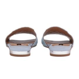 Marco Shoes Eleganckie klapki damskie z tłoczonej skóry niebieskie 5