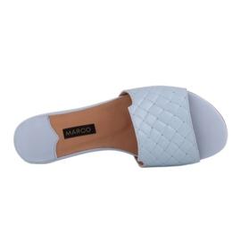 Marco Shoes Eleganckie klapki damskie z tłoczonej skóry niebieskie 6