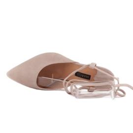Marco Shoes Wiązane czółenka wokół kostki beżowy 5