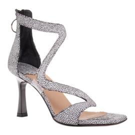 Marco Shoes Eleganckie sandały Ava białe czarne 1