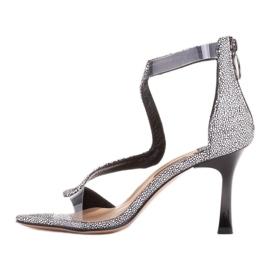 Marco Shoes Eleganckie sandały Ava białe czarne 3
