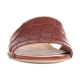 Marco Shoes Eleganckie klapki damskie z brązowej skóry 3