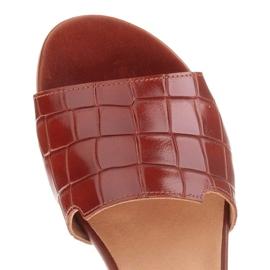 Marco Shoes Eleganckie klapki damskie z brązowej skóry 8