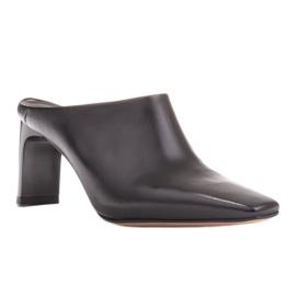 Marco Shoes Skórzane czółenka na lato z otwartym tyłem czarne 1