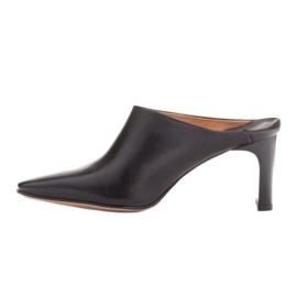 Marco Shoes Skórzane czółenka na lato z otwartym tyłem czarne 2