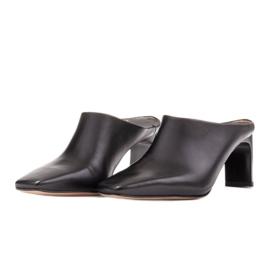 Marco Shoes Skórzane czółenka na lato z otwartym tyłem czarne 3