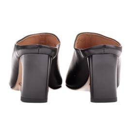 Marco Shoes Skórzane czółenka na lato z otwartym tyłem czarne 4