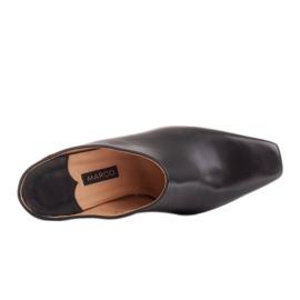 Marco Shoes Skórzane czółenka na lato z otwartym tyłem czarne 6
