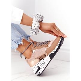 PS1 Damskie Sneakersy Na Koturnie Różowe Złoto Avery złoty 3