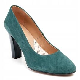 Marco Shoes Zielone czółenka 777P z wyjątkowej skóry zamszowej z kropkami 3D 1