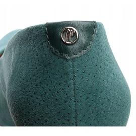 Marco Shoes Zielone czółenka 777P z wyjątkowej skóry zamszowej z kropkami 3D 5