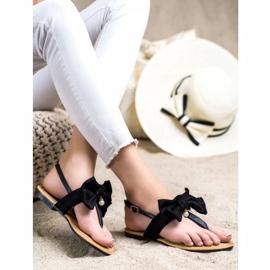Seastar Stylowe Sandałki Z Kokardą czarne 2
