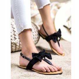 Seastar Stylowe Sandałki Z Kokardą czarne 3