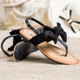 Seastar Stylowe Sandałki Z Kokardą czarne 1