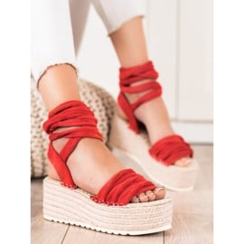 Seastar Wiązane Sandały Na Wysokiej Platformie czerwone 2