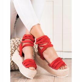 Seastar Wiązane Sandały Na Wysokiej Platformie czerwone 3
