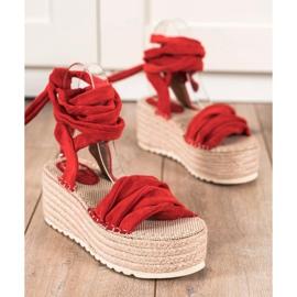 Seastar Wiązane Sandały Na Wysokiej Platformie czerwone 1