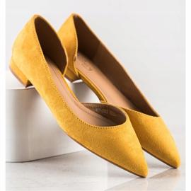 Lovery Zamszowe Baleriny Z Wycięciem żółte 1
