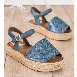 SHELOVET Sandały Espadryle Z Eko Skóry niebieskie 1