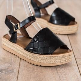 SHELOVET Sandały Espadryle Z Eko Skóry czarne 1