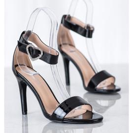 Diamantique Sandały Na Szpilce Z Ozdobą czarne 1