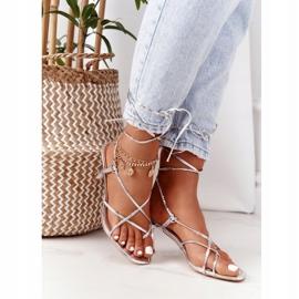 PS1 Wiązane Sandały Na Szpilce Z Kwadratowym Noskiem Srebrne Runway srebrny 6