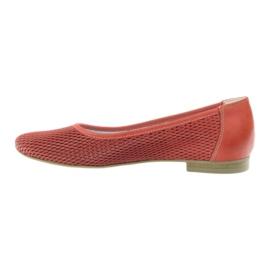 Balerinki damskie siatka Angello czerwone 2