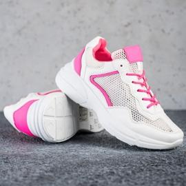 SHELOVET Sneakersy Z Siateczką białe różowe 1